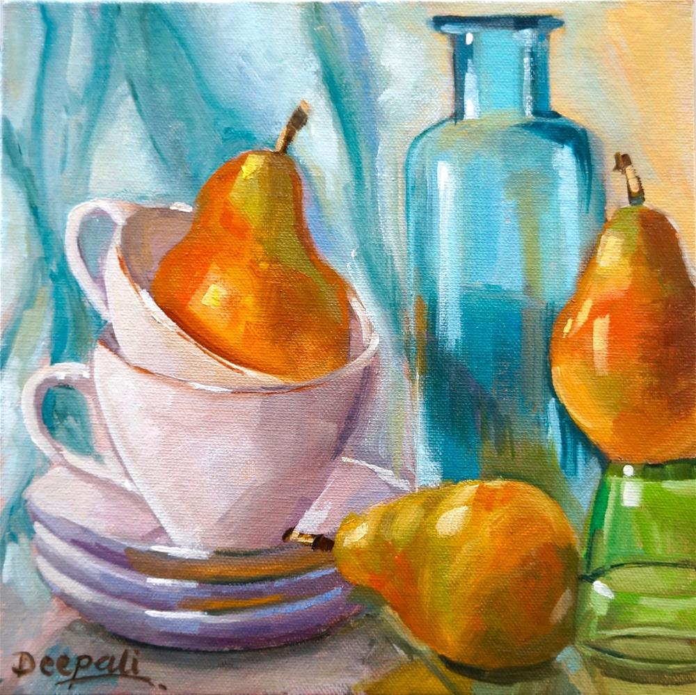 """Pears and stacked cups"" original fine art by Dipali Rabadiya"