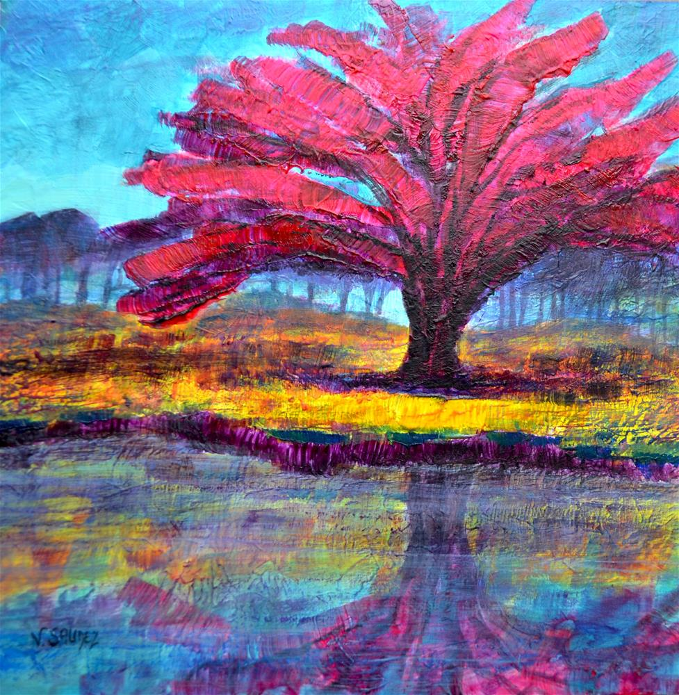 """Red mappletree"" original fine art by Véronique Saudez"