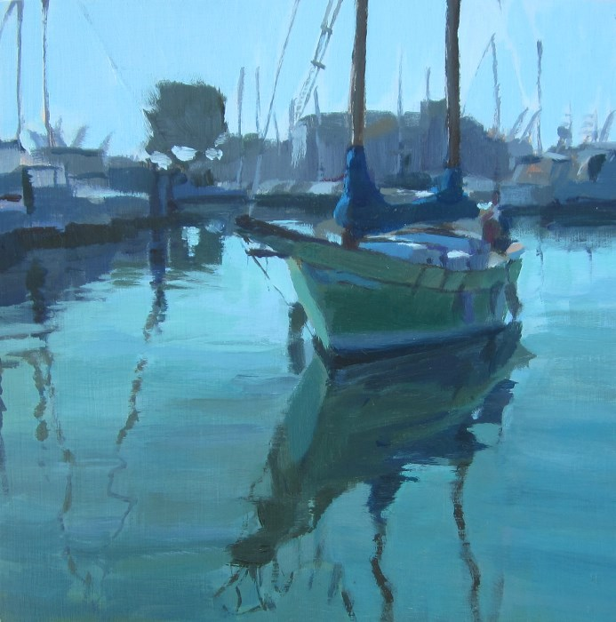 """Green Sailboat"" original fine art by Kaethe Bealer"