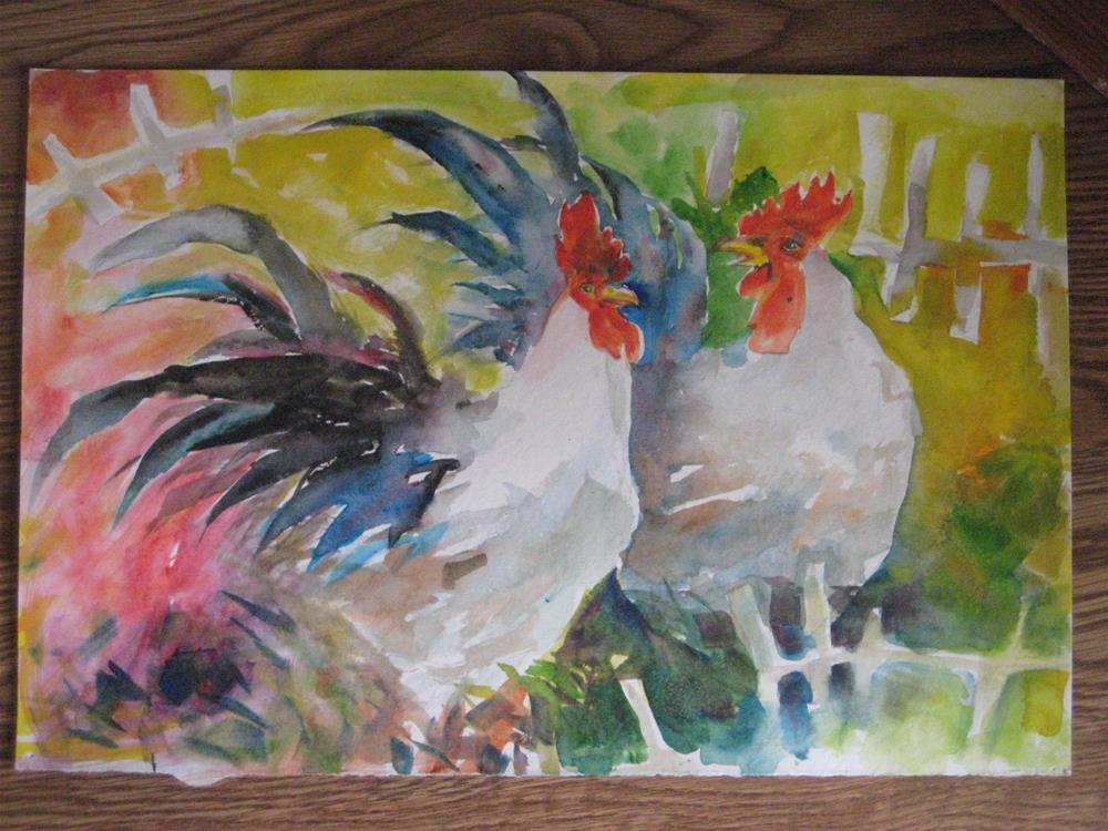 """roosters"" original fine art by Wenqing Xu"