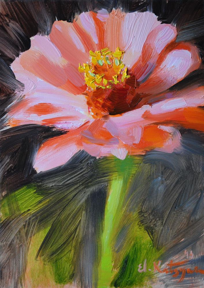 """Pink Zinnia"" original fine art by Elena Katsyura"