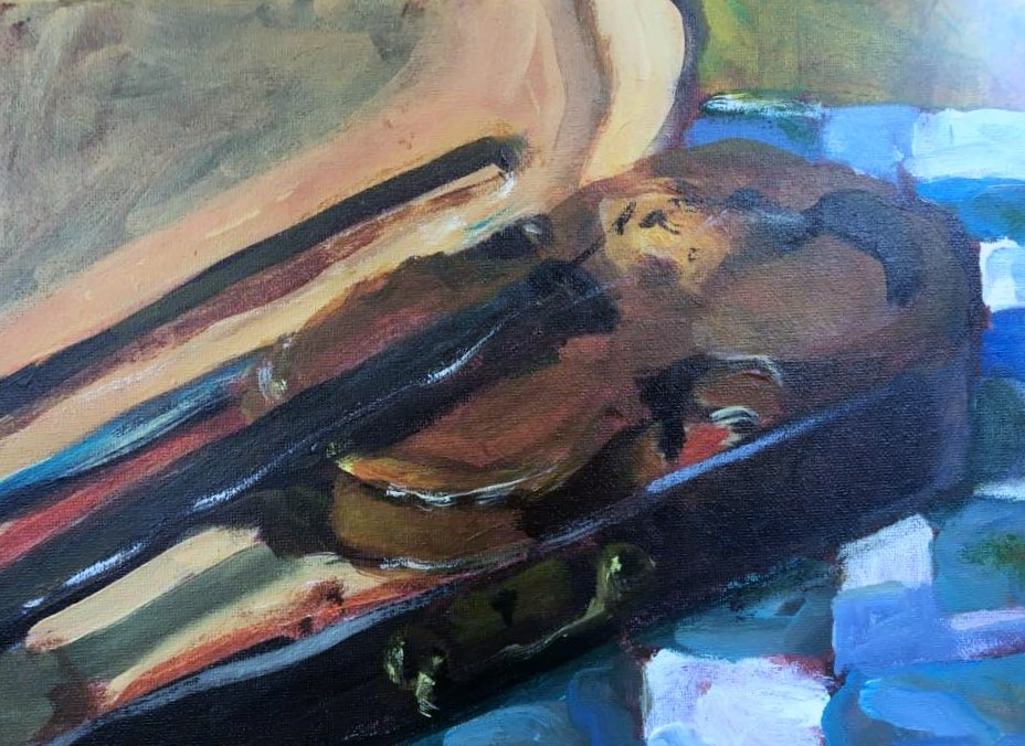 """Fiddle or Violin?"" original fine art by Susan Elizabeth Jones"