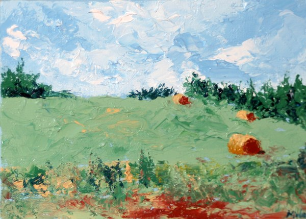 """""""Mark Webster - The Hay Bales Palette Knife Oil Painting"""" original fine art by Mark Webster"""