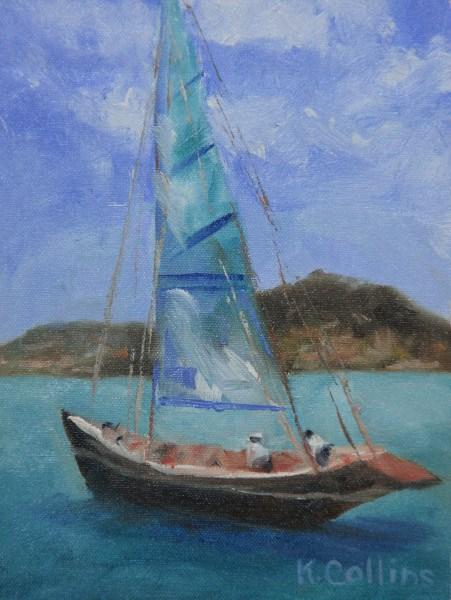 """Sailing in St. Maarten"" original fine art by Kathy Collins"