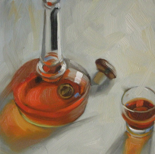 """Willett Bourbon 6x6 oil"" original fine art by Claudia Hammer"