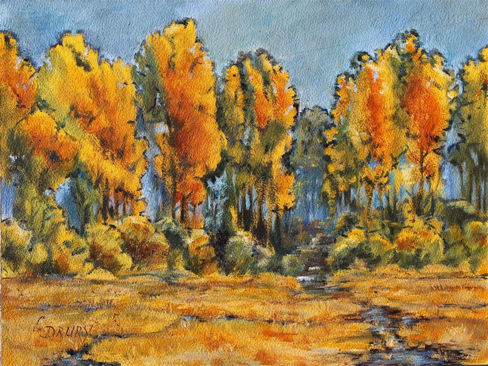 """Wood River Cottonwoods"" original fine art by Colleen Drury"