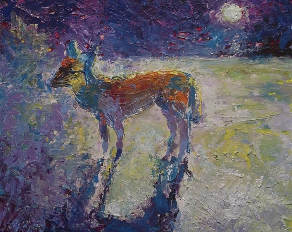 """Fox Moon"" original fine art by S. Lynne Price"