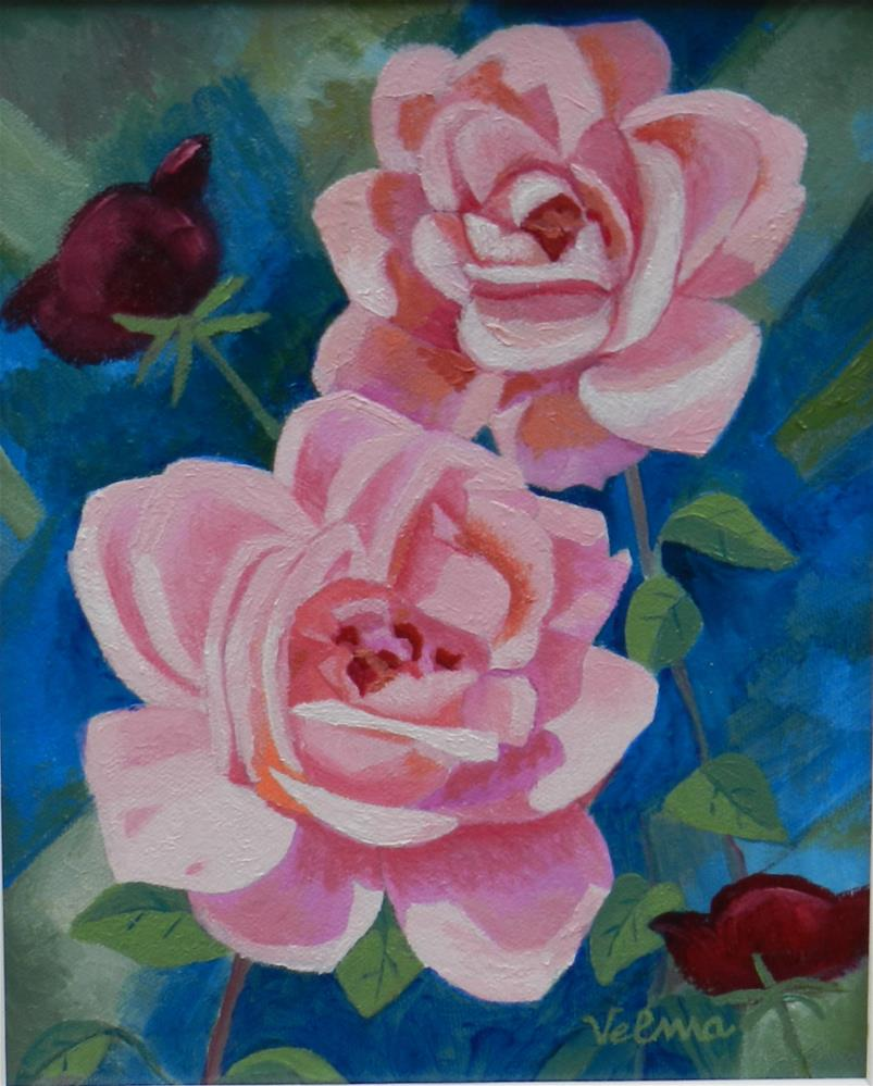 """Pink Roses 2"" original fine art by Velma Davies"