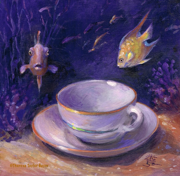 """Underwater Teacup"" original fine art by Theresa Taylor Bayer"
