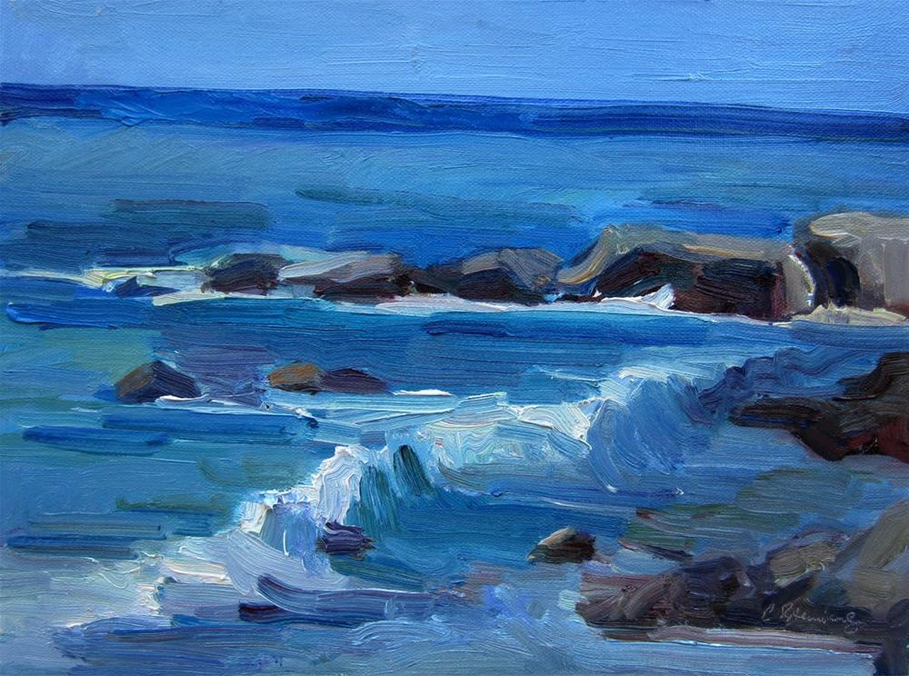 """Wave and Rocks"" original fine art by Carol Steinberg"
