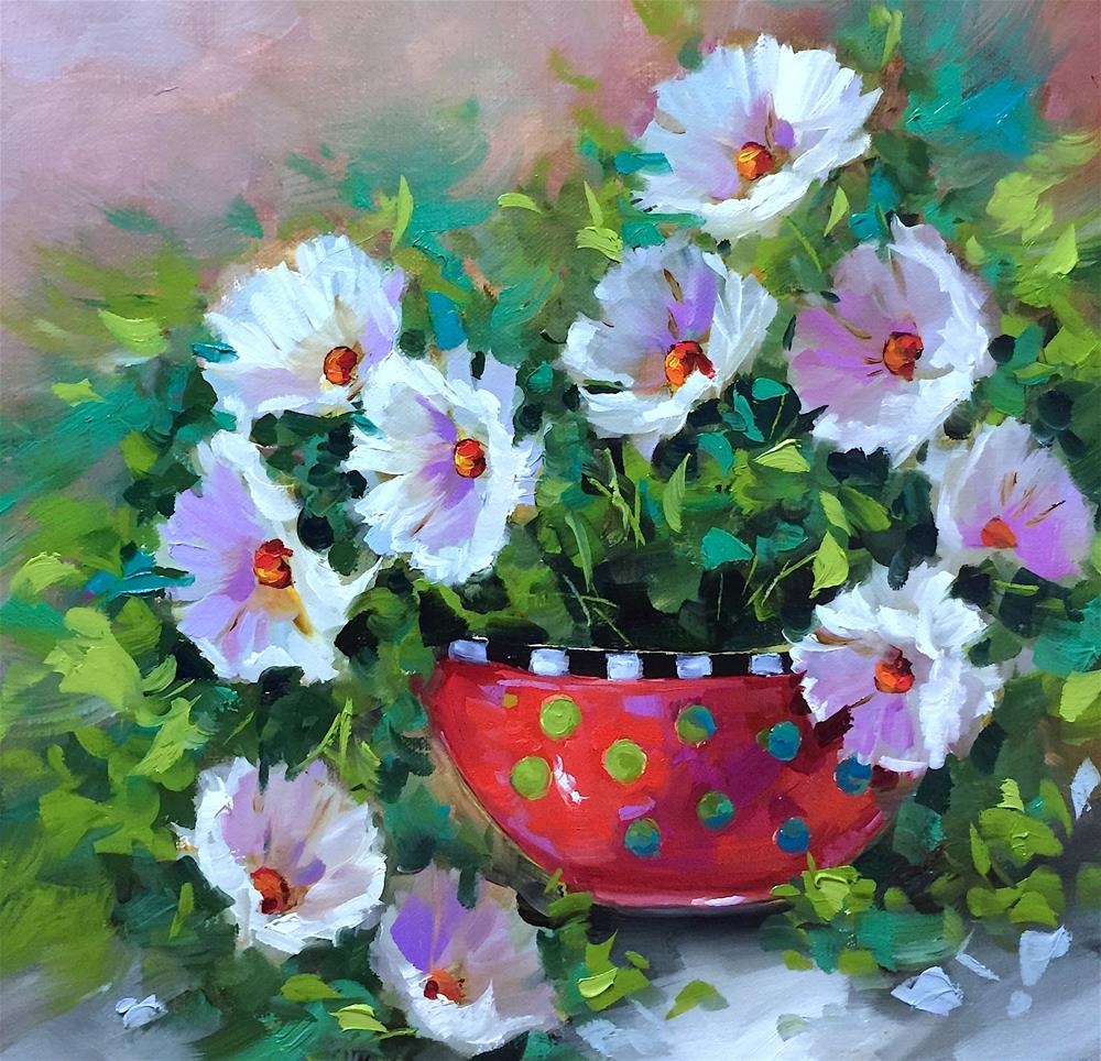 """Starlight White Daisies and the Countdown to France"" original fine art by Nancy Medina"