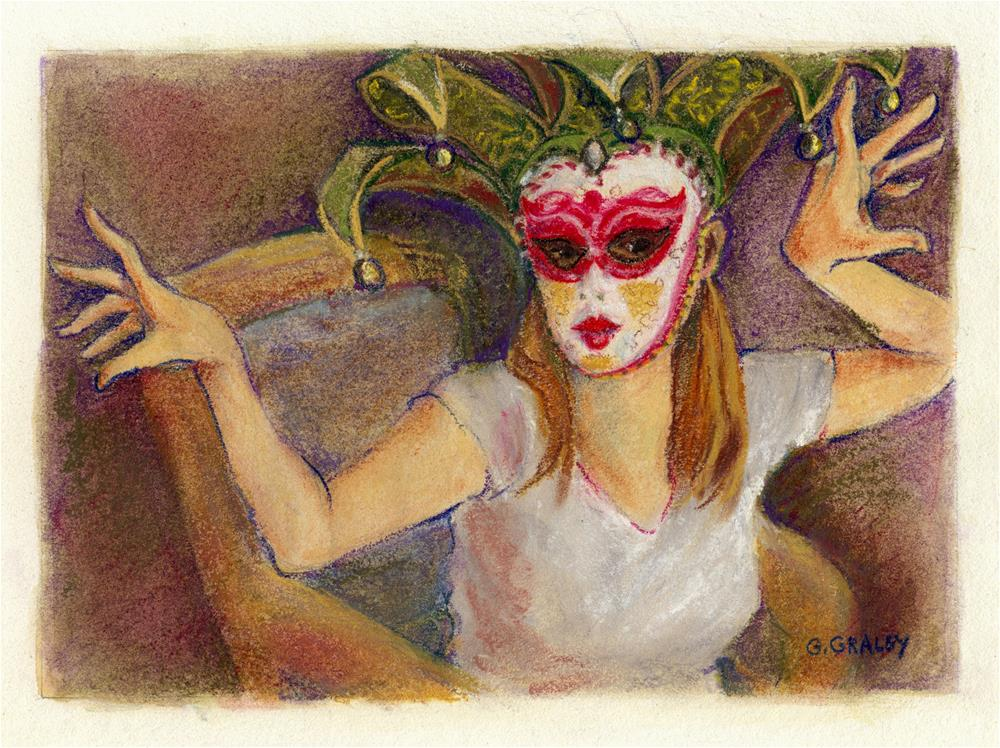 """Harlequin Mask Play"" original fine art by Geri Graley"