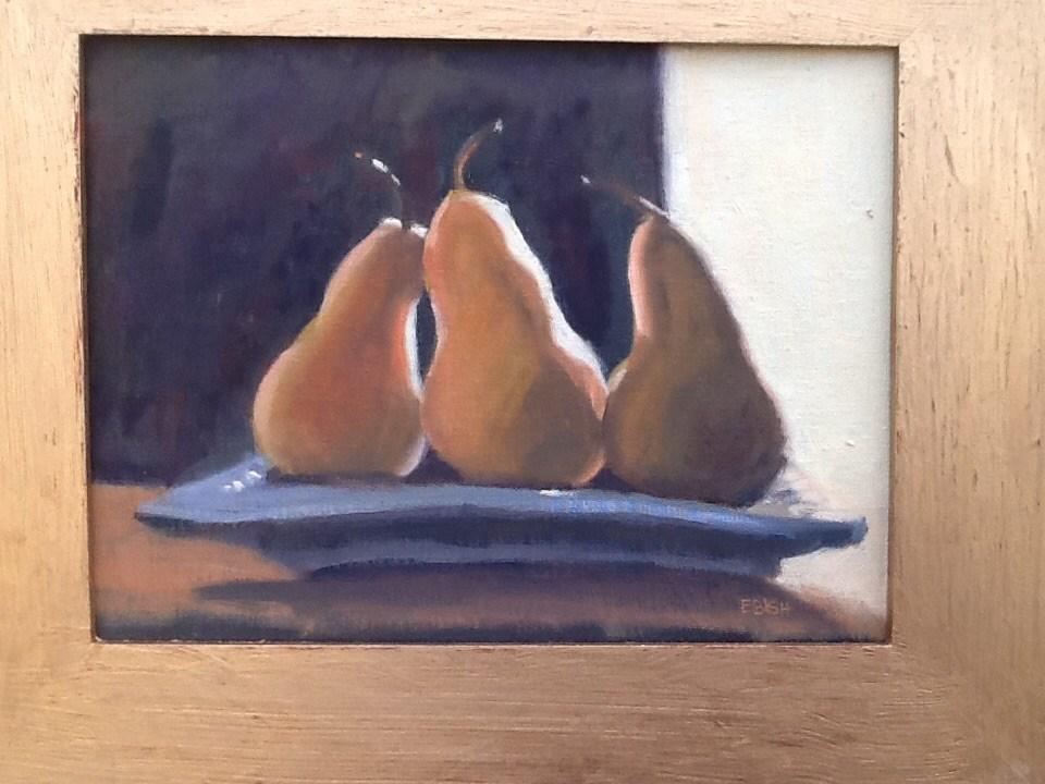 """Three Pears Basking"" original fine art by Elizabeth Bish"