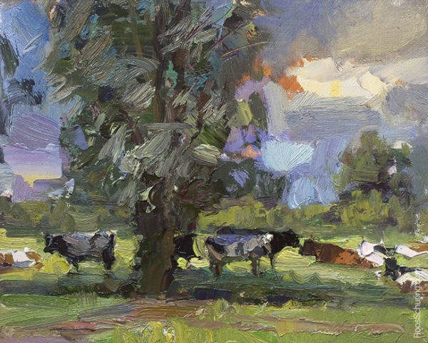 """Painting Cows on a Hot Summer's Day"" original fine art by Roos Schuring"