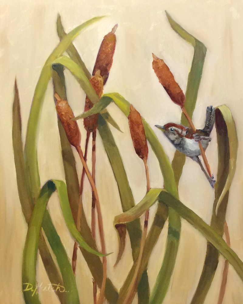 """Wren in Cattails"" original fine art by Diane Hutchinson"