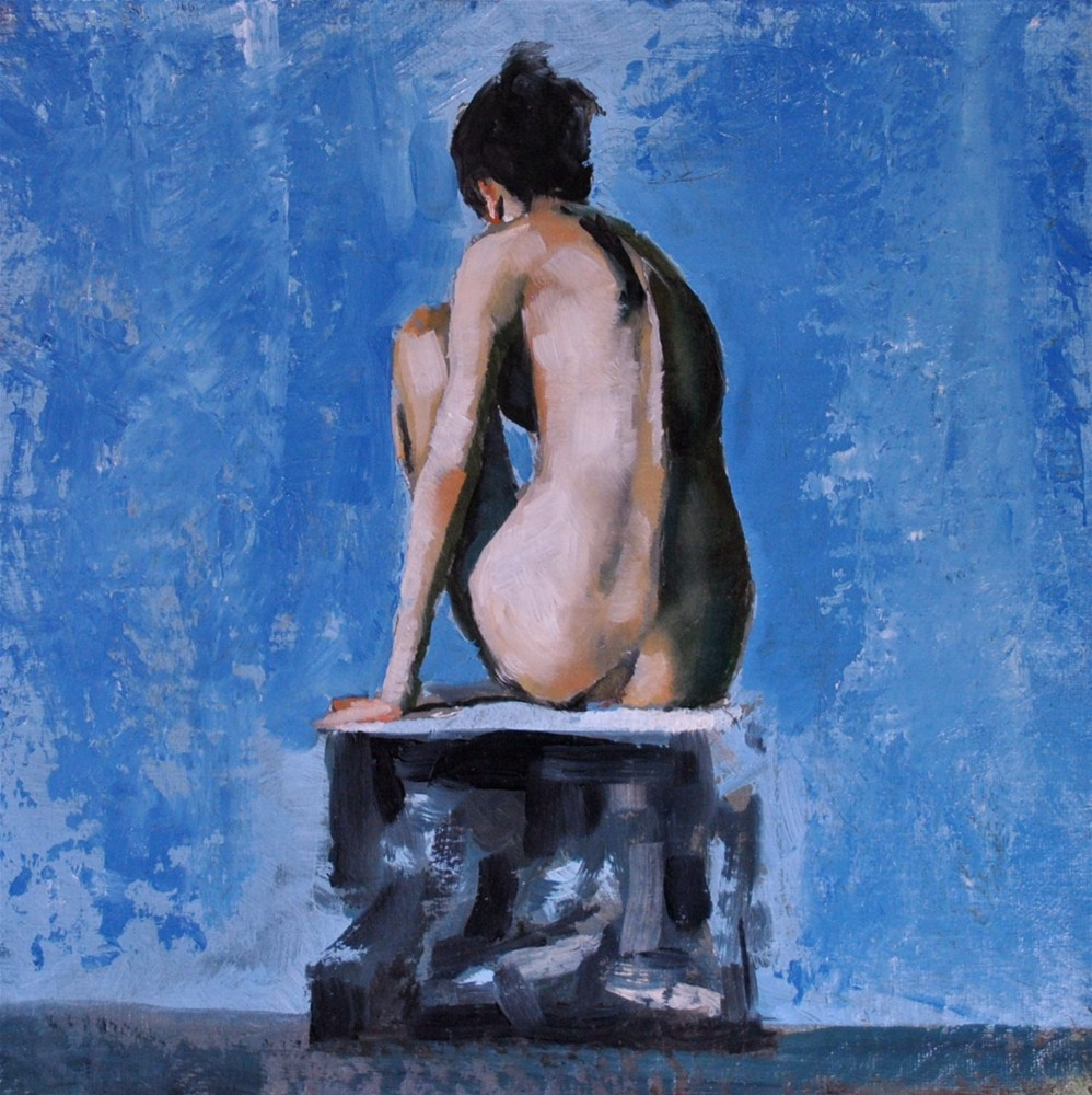 """Seated Nude 8x8 oil on linen panel"" original fine art by David Larson Evans"