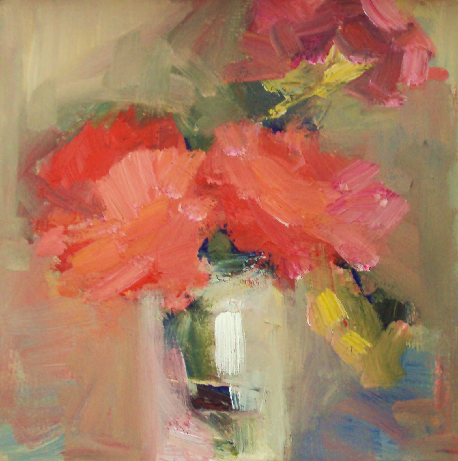 """Red flowers in a jar"" original fine art by Parastoo Ganjei"