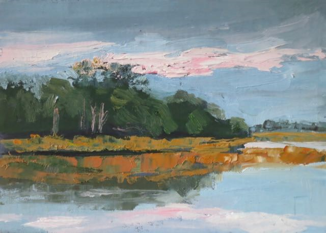 """Marsh with Pink Clouds"" original fine art by Lucinda Howe"