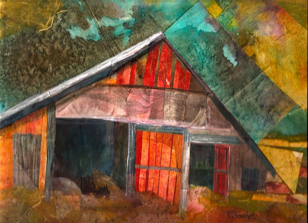 """9x12 Collage Barn Abstract Watercolor Masa Paper Gouache Penny StewArt"" original fine art by Penny Lee StewArt"