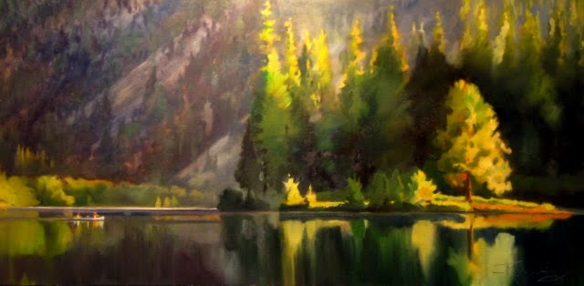 """Clear Lake  oil landscape painting"" original fine art by Robin Weiss"