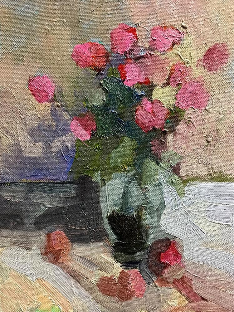 """""""The Pink Roses for Mothers day"""" original fine art by Sally Rosenbaum"""