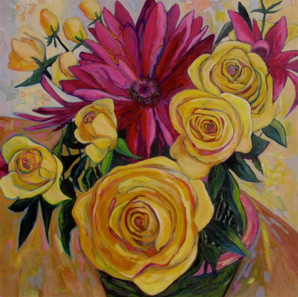 """Still Life with Flowers: Harmony in Yellow and Red"" original fine art by Patricia MacDonald"