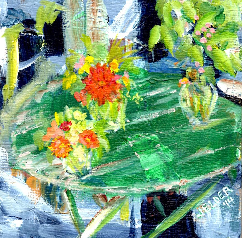 """Green Table"" original fine art by Judith Elder"
