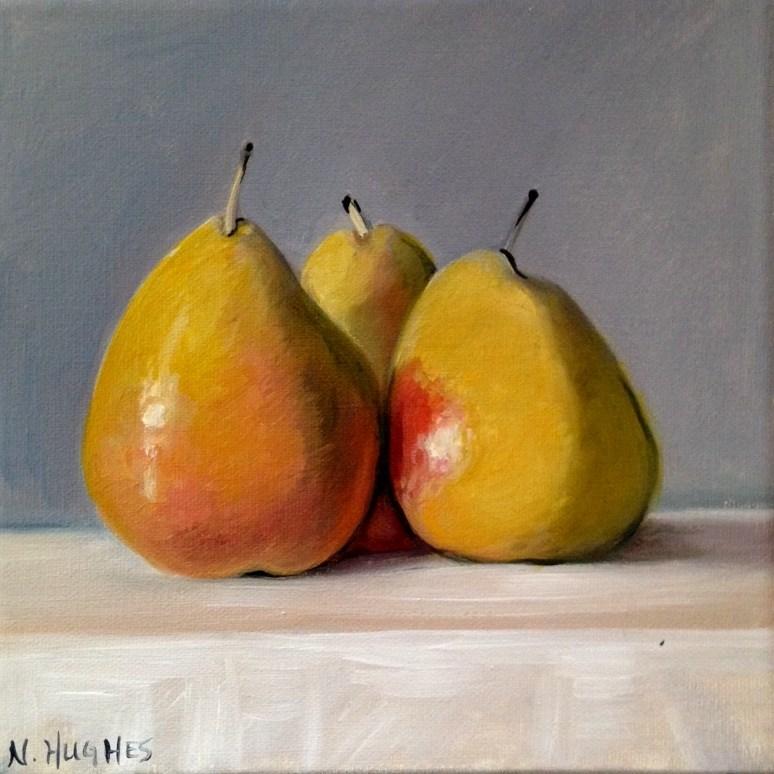"""Three Yellow Pears"" original fine art by Naomi Hughes"