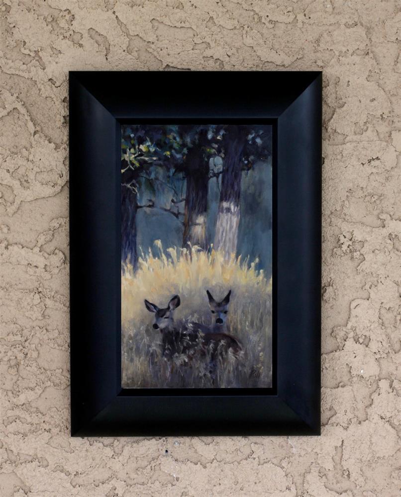 """Fawns in Shadow (framed)"" original fine art by Pamela Poll"