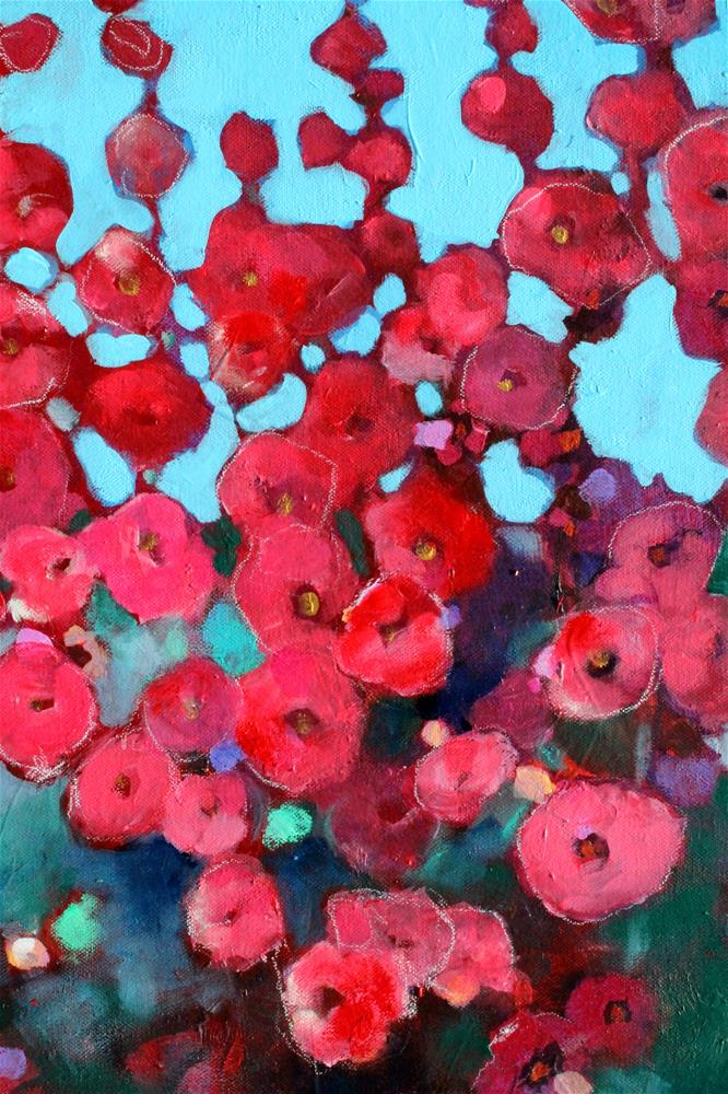 """Red Hollyhocks "" original fine art by Kerri Blackman"