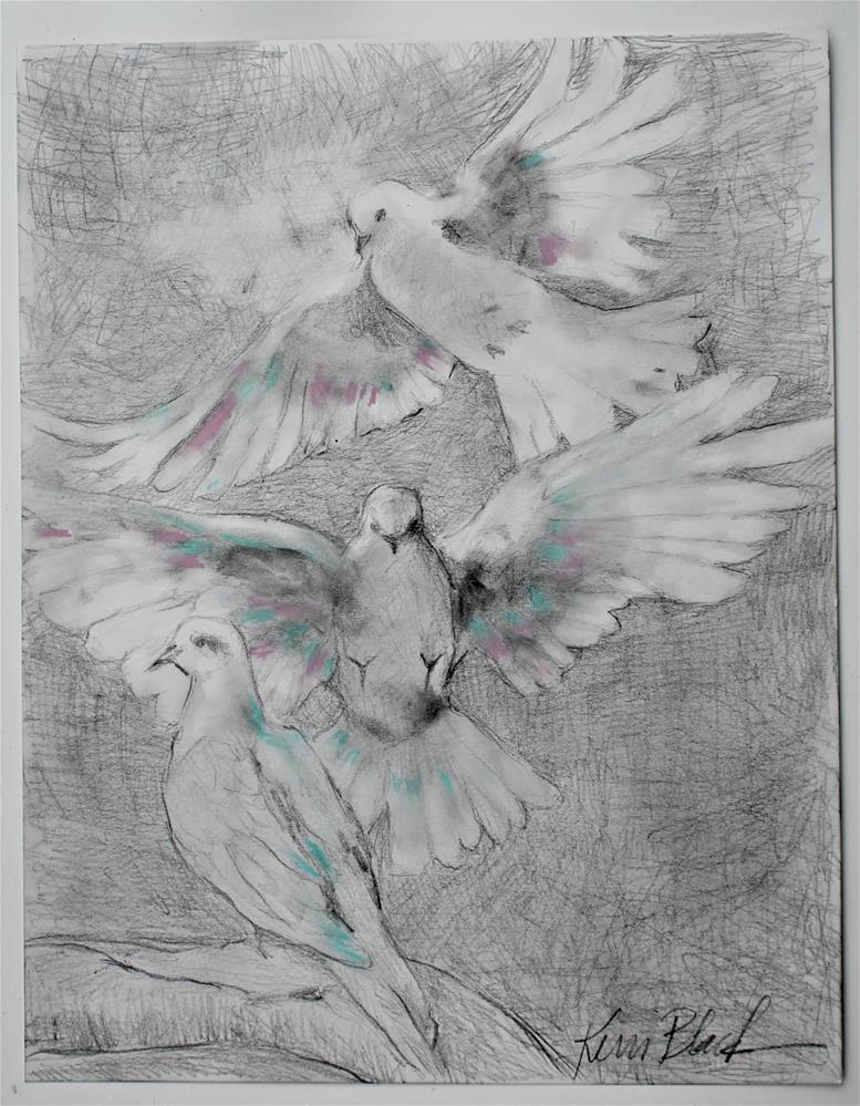 """Three Doves "" original fine art by Kerri Blackman"