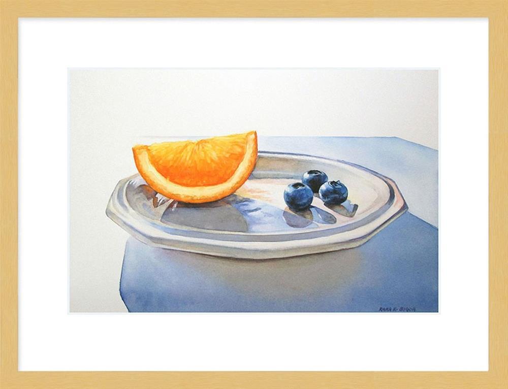 """Orange Wedge with Blueberries"" original fine art by Kara K. Bigda"