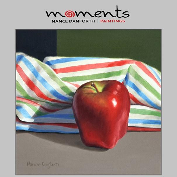 """Apple with Striped Cloth"" original fine art by Nance Danforth"