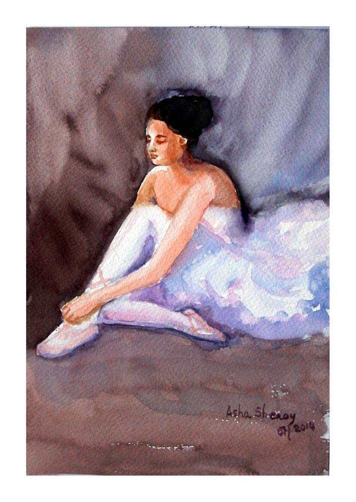 """""""The Ballet Dancer tying her shoe laces"""" original fine art by Asha Shenoy S"""