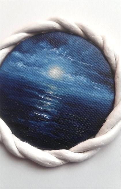 """""""Mini Night Seascape"""" original fine art by Camille Morgan"""