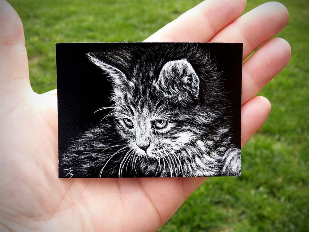 """Kitten  -  SA110"" original fine art by Monique Morin Matson"