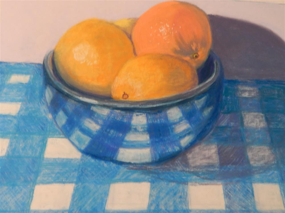 """Still Life with Oranges on a White Plate"" original fine art by Elaine Shortall"