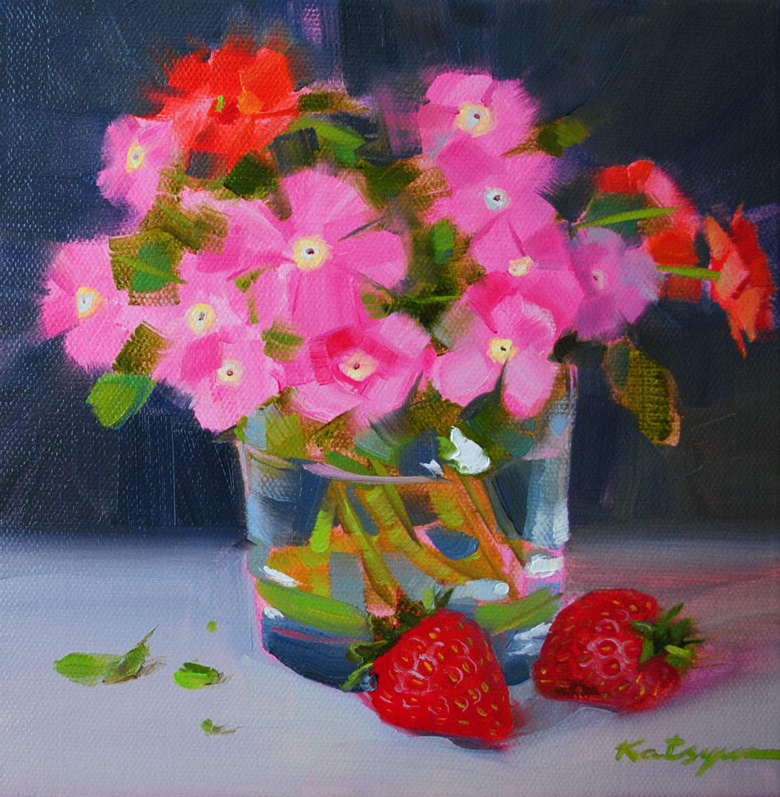 """Pink Flowers and Strawberries"" original fine art by Elena Katsyura"