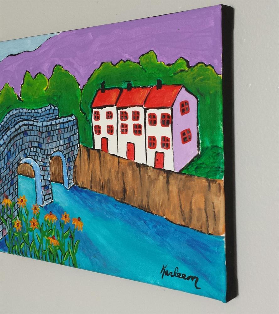 """""""The Houses Over the Bridge"""" original fine art by Karleen Kareem"""