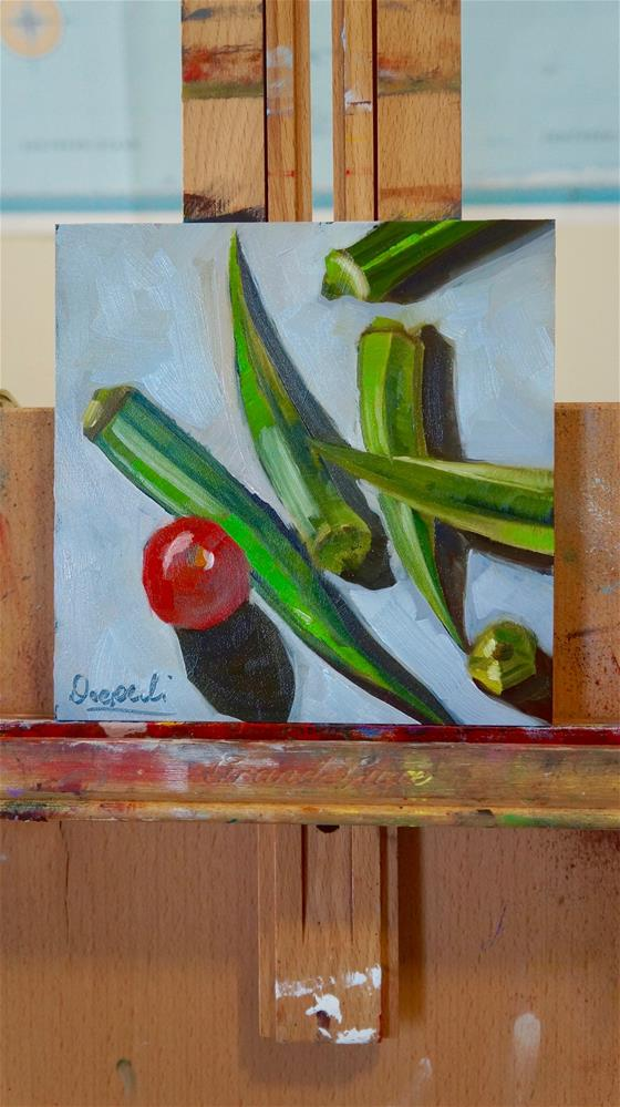 """Okra with tomato"" original fine art by Dipali Rabadiya"