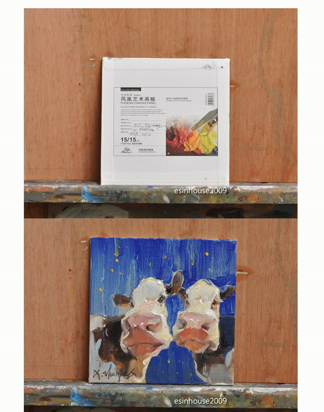 """COW brothers"" original fine art by Thomas Xie"