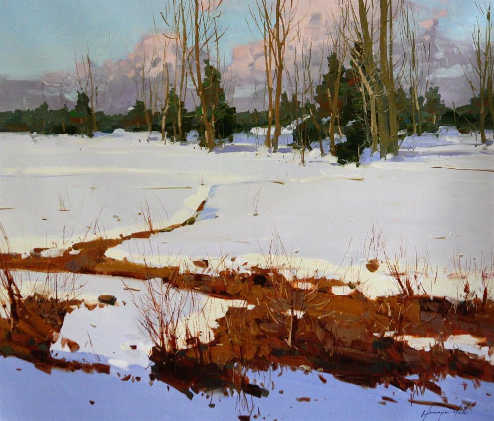 """WINTER ORIGINAL OIL PAINTING FRAMED READY TO HANG"" original fine art by V Y"