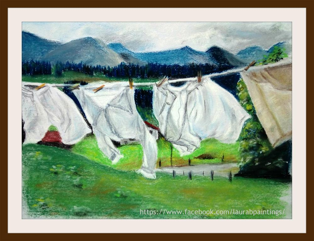 """White Laundry"" original fine art by Laura B."