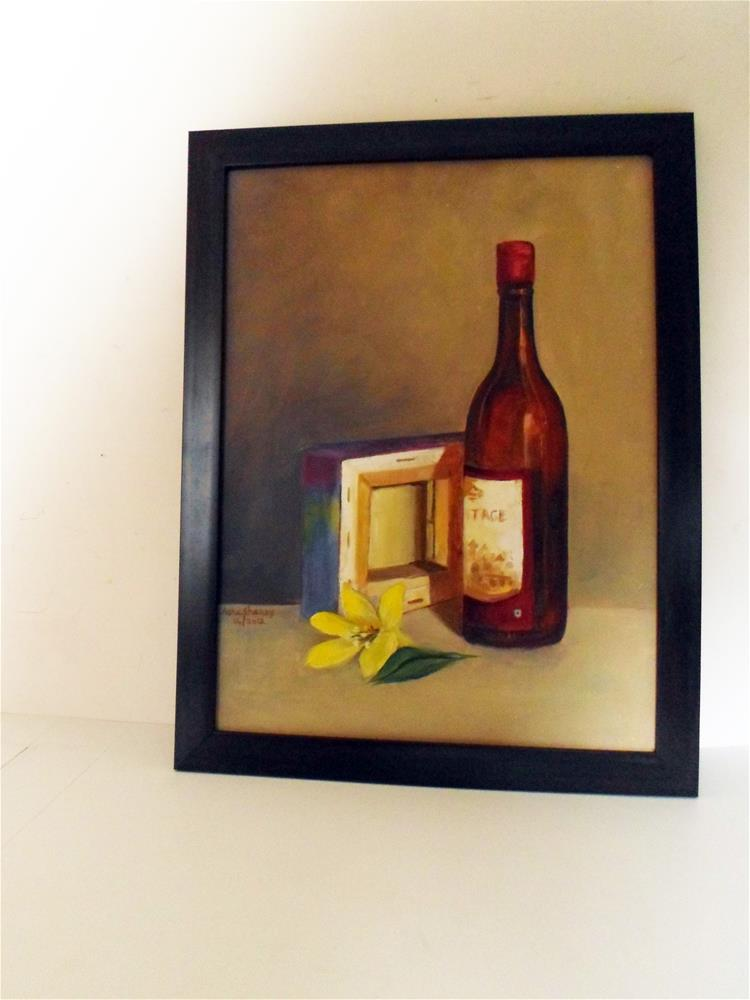 """Still life with wine bottle"" original fine art by Asha Shenoy S"
