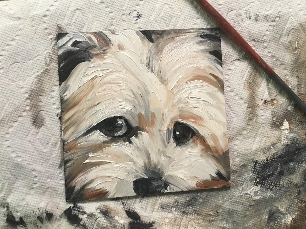 """Thinking Yorkie"" original fine art by Annette Balesteri"