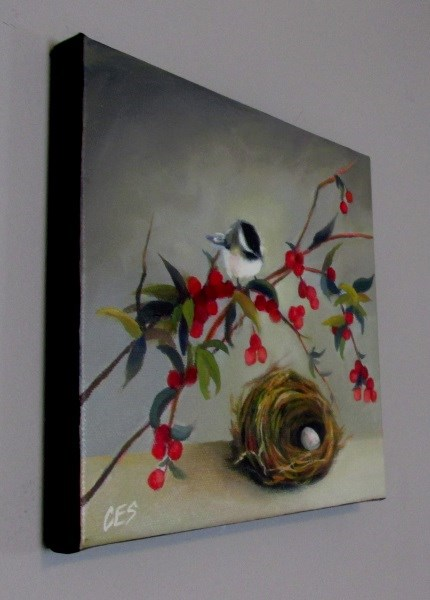 """Chickadee and Nandina"" original fine art by ~ces~ Christine E. S. Code"