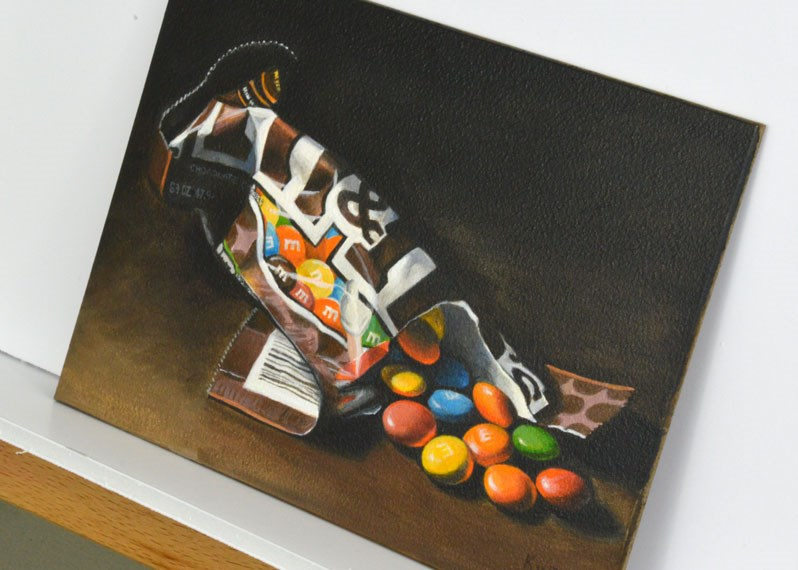 """Dramatic M & M's"" original fine art by Kim Testone"