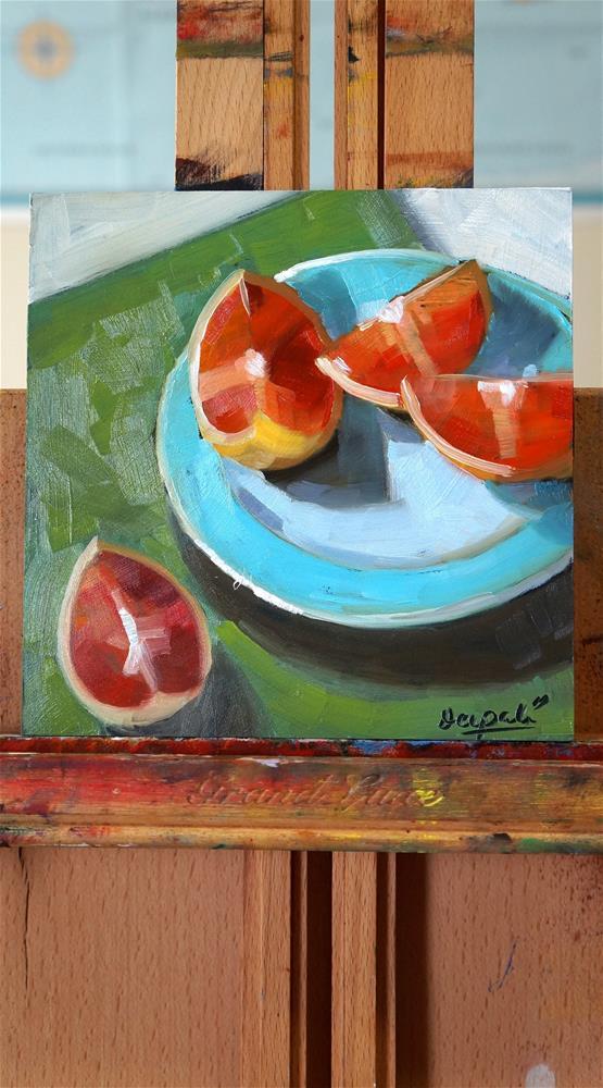 """Grapefruit slices"" original fine art by Dipali Rabadiya"