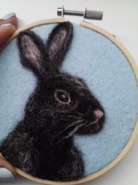 """""""Black bunny"""" original fine art by Camille Morgan"""