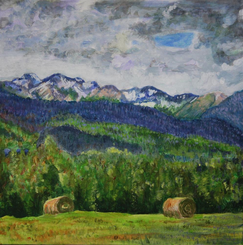 """Round Bales on the High Road"" original fine art by Terri-Anne Barge"